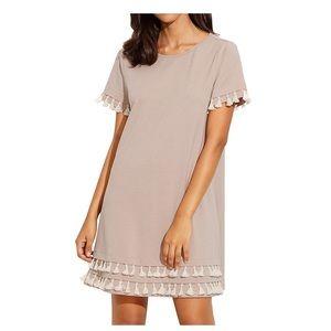 Short sleeve shift dress with tassels